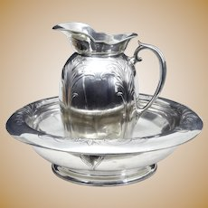 Late 19th Century Art Nouveau silver plate jug and bowl by Christofle
