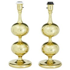 Pair of 1960's brass table lamps by Borens