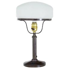 1960's Bronze table lamp with frosted glass shade