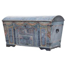 19th century Swedish painted dome top trunk chest