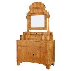 Early 19th century birch Russian Biedermeier vanity dressing cabinet
