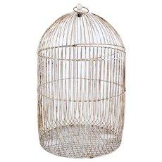 19th Century large wire frame decorative bird cage