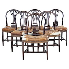 Set of 6 19th century birch Swedish dining chairs