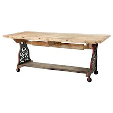 Early 20th Century converted cast iron work table