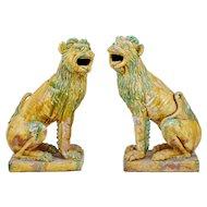 Pair of 20th century tall Indonesian salt glazed decoration dogs