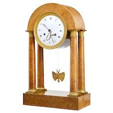 19th century French empire burr walnut mantel clock
