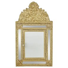 20th Century aesthetic movement inspired brass hall cushion mirror