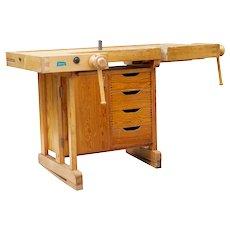 20th century Swedish pine school work bench