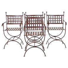 Set of 4 Wrought iron decorative garden chairs