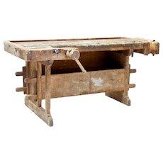 19th century Swedish rustic pine work bench
