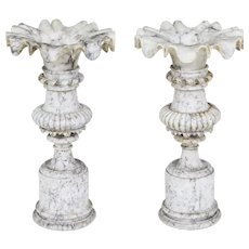 Fine pair of 19th Century decorative alabaster urns