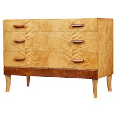 Mid 20th century burr and birch Scandinavian chest of drawers
