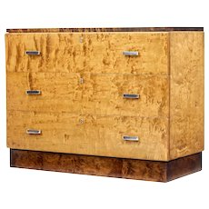 20th Century art deco style birch chest of drawers