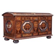 Mid 19th century profusely inlaid Continental walnut dome chest