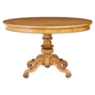 19th century Swedish carved birch oval center table