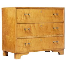 Mid 20th Century swedish birch chest of drawers