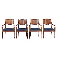 Set of 4 19th century Russian mahogany armchairs