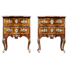 Pair of small mid 19th century Continental walnut commodes