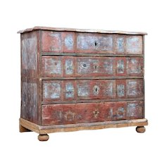 Mid 18th century Danish pine painted chest of drawers