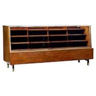 1930's Oak and teak glazed haberdashery display cabinet
