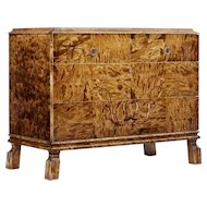 Scandinavian art deco influenced birch inlaid chest of drawers