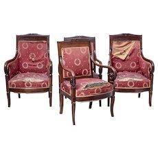 Set of 4 mid 19th Century danish mahogany armchairs