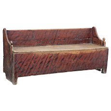 Rustic painted 19th century Swedish pine bench
