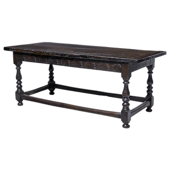 19th Century carved oak refectory table