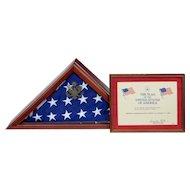 American Flag in mahogany presentation cabinet