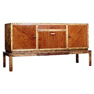 Art deco influenced birch and elm sideboard