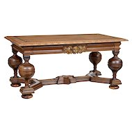 Early 20th century Danish carved oak library table by Lysberg Hansen Therp