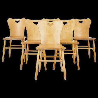 Set of 6 mid 20th century Scandinavian pine dining chairs