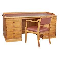 20th century large Danish pine desk and chair by Finn N Hansen