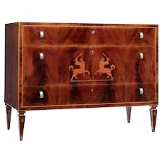 Art Deco Swedish flame mahogany inlaid chest of drawers