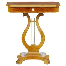 Late 19th Century birch lyre form side table