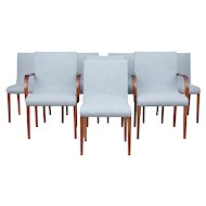 Set of 8 Scandinavian teak mid 20th century dining chairs
