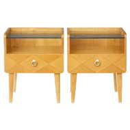 Pair of 1960's Scandinavian elm bedside tables