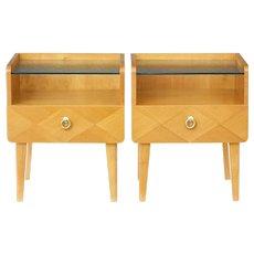 Pair of 1960's Scandinavian elm bedside tables