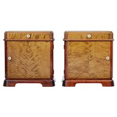 Pair of mid 20th century Scandinavian birch bedside cabinets