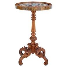 19th century walnut specimen marble top Side Table