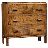Small mid 20th century birch chest of drawers