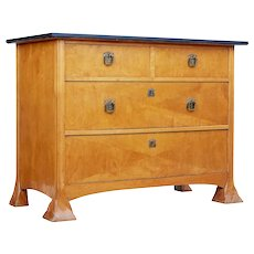 Late 19th century Scandinavian birch Art Nouveau chest of drawers