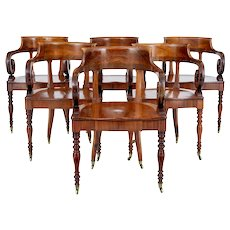 Rare set of 6 mid 19th century Danish walnut captains chairs