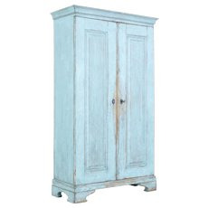 Mid 19th century painted Swedish pine tall cupboard