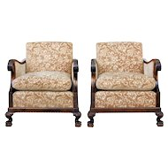 Pair of Art Deco birch Scandinavian armchairs