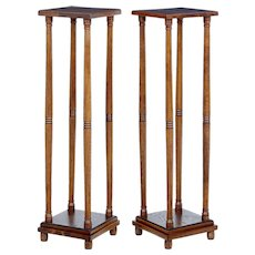Pair of early 20th century oak arts and crafts stands