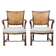 Pair of 1930's Art Deco burr birch armchairs