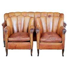 Art Deco leather shell back 3 piece suite