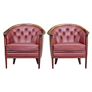 Rare pair of leather 1960's Andersson armchairs
