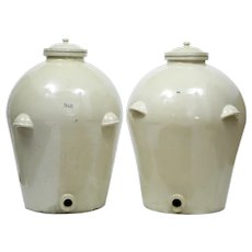 Pair of massive doulton of London RMS shipping stoneware alcohol vats
